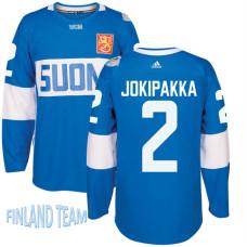 Finland Team 2016 World Cup of Hockey #2 Jyrki Jokipakka Blue Premier Jersey