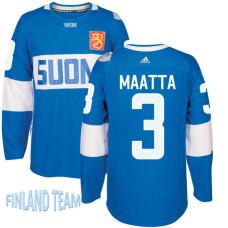 Finland Team 2016 World Cup of Hockey #3 Olli Maatta Blue Premier Jersey
