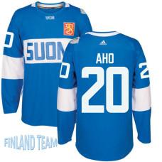 Finland Team 2016 World Cup of Hockey #20 Sebastian Aho Blue Premier Jersey