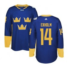 2016 World Cup of Hockey Sweden Team #14 Mattias Ekholm Blue Premier Jersey