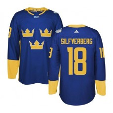 2016 World Cup of Hockey Sweden Team #18 Jakob Silfverberg Blue Premier Jersey