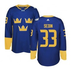 2016 World Cup of Hockey Sweden Team #33 Henrik Sedin Blue Premier Jersey