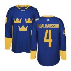 2016 World Cup of Hockey Sweden Team #4 Niklas Hjalmarsson Blue Premier Jersey
