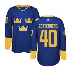 2016 World Cup of Hockey Sweden Team #40 Henrik Zetterberg Blue Premier Jersey