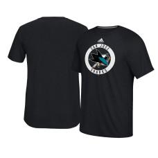 2017 San Jose Sharks Black Ultimate Adidas Team Practice T-shirt