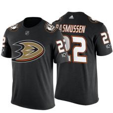 Anaheim Ducks #22 Dennis Rasmussen Black Adidas Player T-shirt