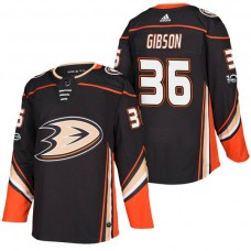 Anaheim Ducks #36 John Gibson Black 2018 New Season Home Authentic Jersey With Anniversary Patch
