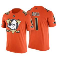 Anaheim Ducks #1 Reto Berra Orange Adidas Player T-shirt