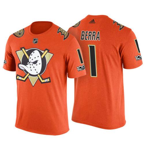best sneakers 52343 68e1c Anaheim Ducks #1 Reto Berra Orange Adidas Player T-shirt