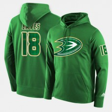 Anaheim Ducks #18 Patrick Eaves Green St. Patrick Day Pullover Hoodie