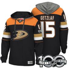Anaheim Ducks #15 Ryan Getzlaf Black Anniversary Classic Patch Hoodie