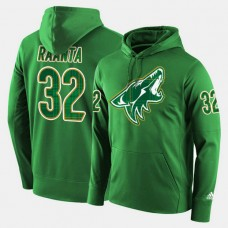 Arizona Coyotes #32 Antti Raanta Green St. Patrick Day Pullover Hoodie