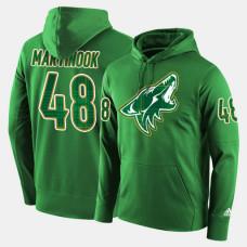 Arizona Coyotes #48 Jordan Martinook Green St. Patrick Day Pullover Hoodie
