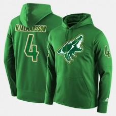 Arizona Coyotes #4 Niklas Hjalmarsson Green St. Patrick Day Pullover Hoodie