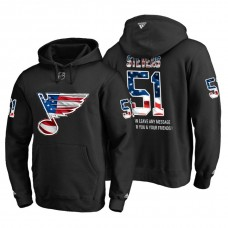 St. Louis Blues #51 Nolan Stevens Banner Wave USA Flag with Message Black Hoodie
