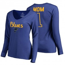 St. Louis Blues 2018 Fanatics Mother's Day Number 1 Mom long sleeve T-Shirt Royal