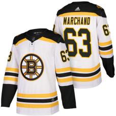 Boston Bruins #63 Brad Marchand White 2018 Season Authentic Team Away Jersey