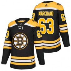 Boston Bruins #63 Brad Marchand Black 2018 New Season Home Authentic Jersey With Anniversary Patch