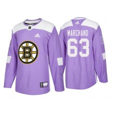 Boston Bruins #63 Brad Marchand Purple 2018 Adidas Authentic Hockey Fights Cancer Jersey