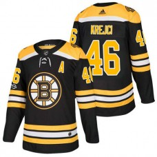 Boston Bruins #46 David Krejci Black 2018 New Season Home Authentic Jersey With Anniversary Patch