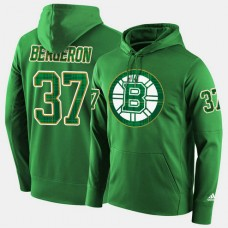 Boston Bruins #37 Patrice Bergeron Green St. Patrick Day Pullover Hoodie