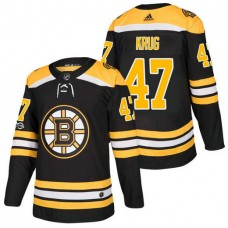 Boston Bruins #47 Torey Krug Black 2018 New Season Home Authentic Jersey With Anniversary Patch