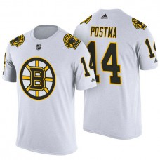 Boston Bruins #14 Paul Postma White Adidas Player Jersey Style T-shirt