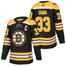 Boston Bruins #33 Zdeno Chara Black 2018 New Season Home Authentic Jersey With Anniversary Patch