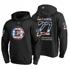 Boston Bruins #27 Austin Czarnik Banner Wave USA Flag with Message Black Hoodie