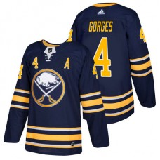 Buffalo Sabres #4 Josh Gorges Navy 2018 New Season Home Authentic Jersey