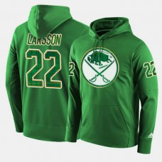 Buffalo Sabres #22 Johan Larsson Green St. Patrick Day Pullover Hoodie