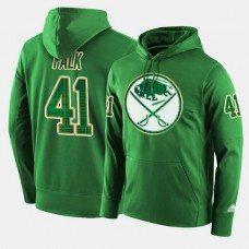 Buffalo Sabres #41 Justin Falk Green St. Patrick Day Pullover Hoodie