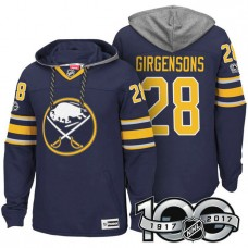 Buffalo Sabres #28 Zemgus Girgensons Navy 2017 Anniversary Patch Hoodie