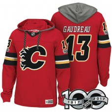 Calgary Flames #13 Johnny Gaudreau Red Anniversary Classic Patch Hoodie