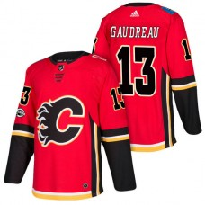 Calgary Flames #13 Johnny Gaudreau Red 2018 New Season Home Authentic Jersey With Anniversary Patch