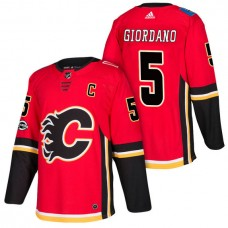 Calgary Flames #5 Mark Giordano Red 2018 New Season Home Authentic Jersey With Anniversary Patch