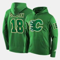 Calgary Flames #18 Matt Stajan Green St. Patrick Day Pullover Hoodie