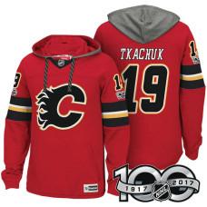 Calgary Flames #19 Matthew Tkachuk Red Anniversary Classic Patch Hoodie