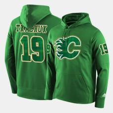 Calgary Flames #19 Matthew Tkachuk Green St. Patrick Day Pullover Hoodie