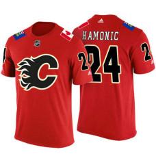 Calgary Flames #24 Travis Hamonic Red Adidas Player T-shirt