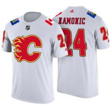 Calgary Flames #24 Travis Hamonic White Adidas Player T-shirt