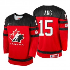 Canada Team #15 Jonathan Ang Red 2017 WJSS Team Young Player Underway Jersey