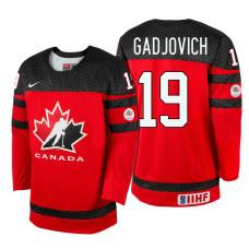 Canada Team #19 Jonah Gadjovich Red 2017 WJSS Team Young Player Underway Jersey