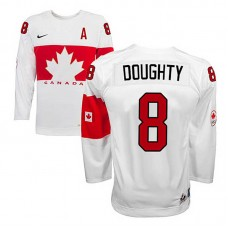 Canada Team Drew Doughty #8 White Home Premier Olympic Jersey