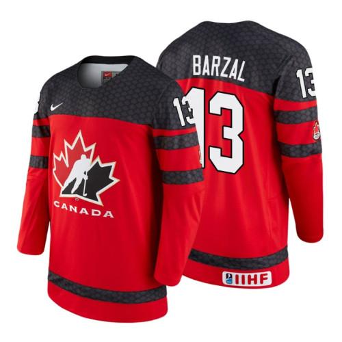 hot sales 35b2b cbc30 Canada Team #13 Mathew Barzal 2018 IIHF World Championship ...