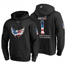 Washington Capitals #1 Pheonix Copley Banner Wave USA Flag with Message Black Hoodie