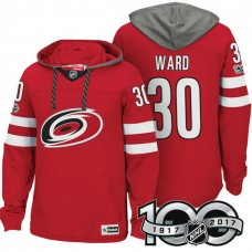 Carolina Hurricanes #30 Cam Ward Red 2017 Anniversary Patch Hoodie