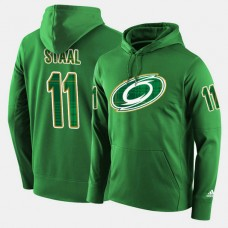 Carolina Hurricanes #11 Jordan Staal Green St. Patrick Day Pullover Hoodie