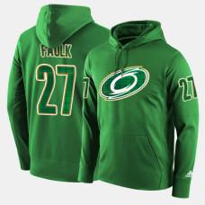 Carolina Hurricanes #27 Justin Faulk Green St. Patrick Day Pullover Hoodie