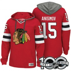 Chicago Blackhawks #15 Artem Anisimov Red Anniversary Classic Patch Hoodie